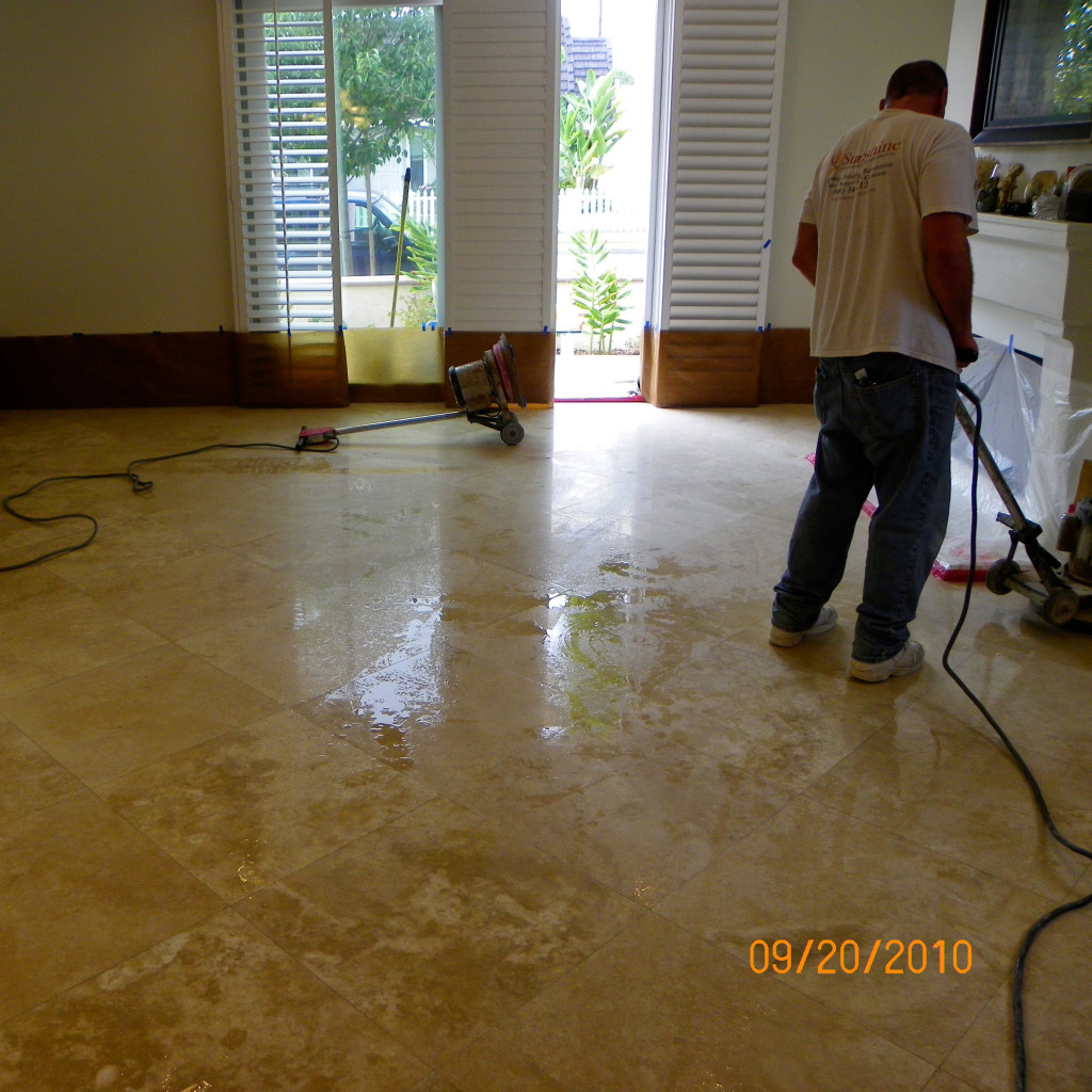 Honed Travertine During  Polishing