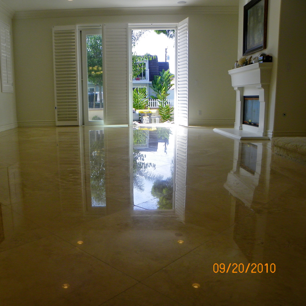 Perfectly Polished Travertine Floor